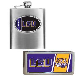 LSU Tigers Hip Flask and Money Clip Set - Thumbnail 0