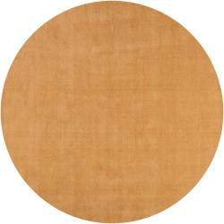 Hand-crafted Solid Beige Casual Majestic Wool Rug (9'9 Round)