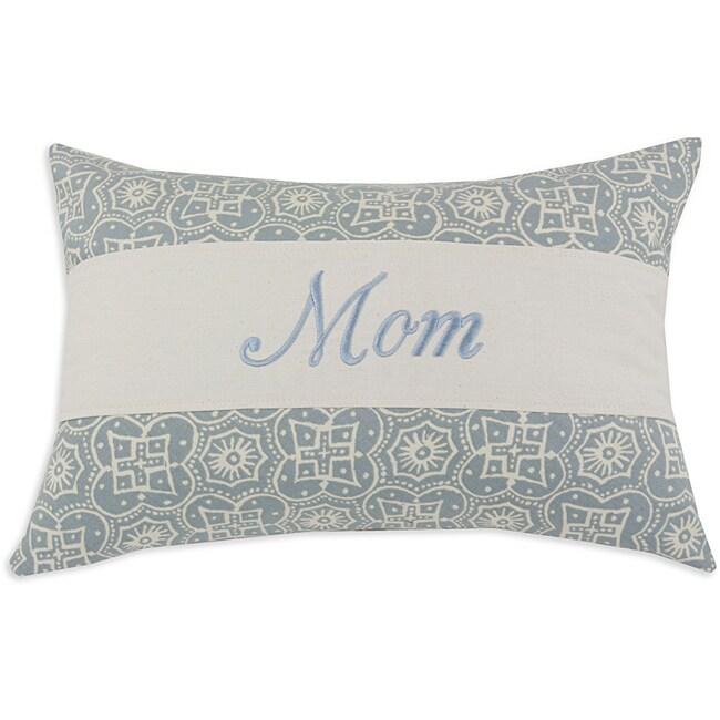 'Mom' Parker Surf Light blue/ White Embroidered Pillow