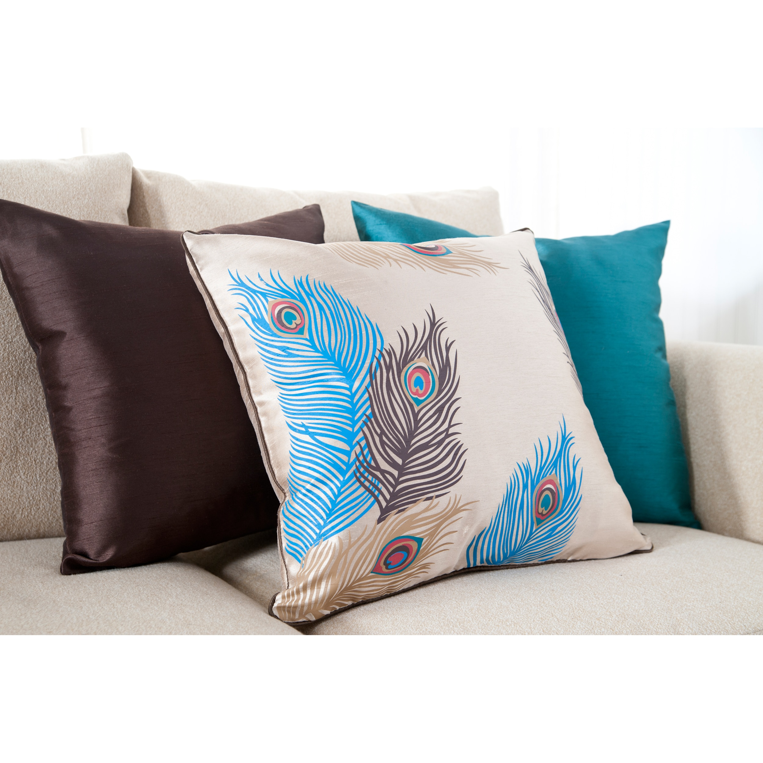 Feathered Decorative 18-inch Down Pillows (Set of 3) - Free Shipping Today - Overstock.com ...
