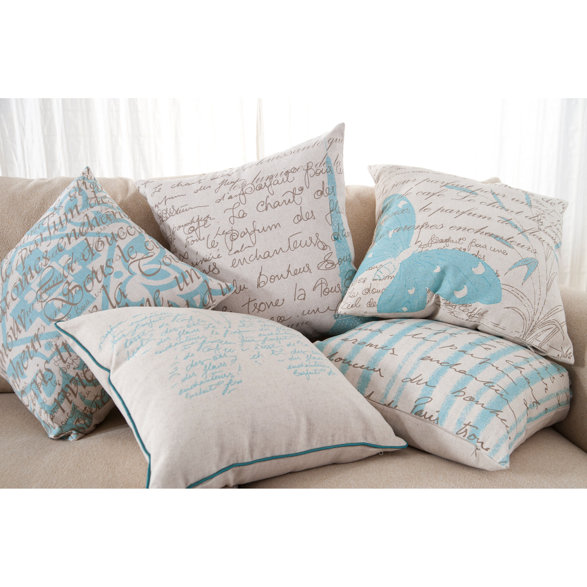 Scripts Decorative 18-inch Down Pillows (Set of 5)