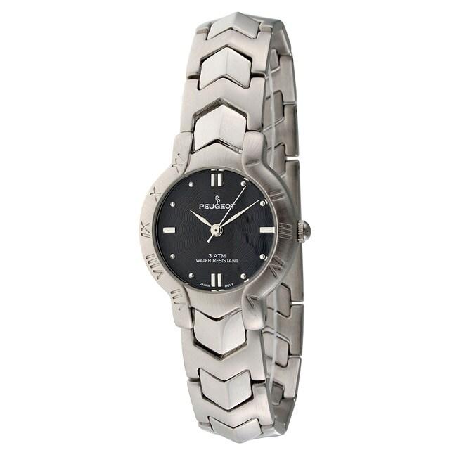 Peugeot Women's Black-Dial Silvertone Bracelet Watch (Sil...