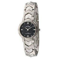 Peugeot Women's Black-Dial Silvertone Bracelet Watch