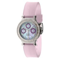 Peugeot Women's Silvertone Multi-Function Watch with Rubber Strap