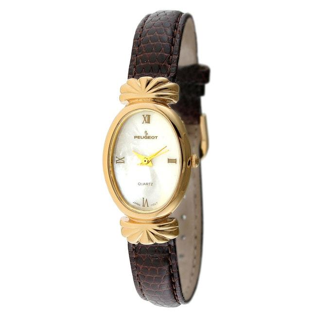 Peugeot Women's Goldtone Leather Strap Watch