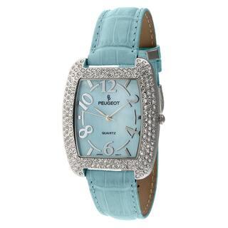 Peugeot Women's Silvertone Aqua Leather Watch https://ak1.ostkcdn.com/images/products/6639318/P14202934.jpg?impolicy=medium
