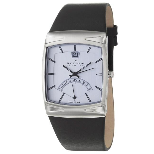 Skagen Men's 'Leather' Stainless Steel Black Leather Watch