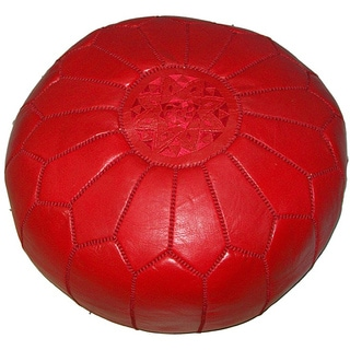 Handmade Moroccan Contemporary Leather Ottoman Pouf Red (Morocco)