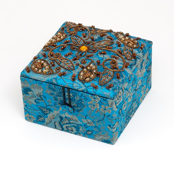 Blue/Gold Pattern Fabric Jewelry Box with Lined Interior (India)
