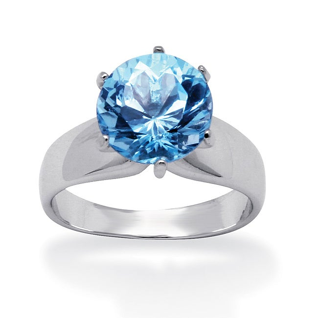 3.80-Carat Round Genuine Blue Topaz Sterling Silver Solitaire Ring