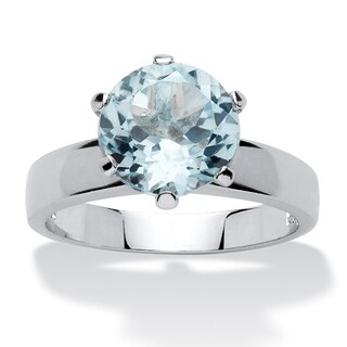 Sterling Silver Genuine Blue Topaz Solitaire Ring (2 options available)