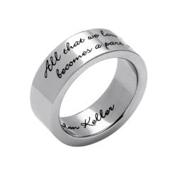 PalmBeach Inspirational Helen Keller Quote Message Ring in Stainless Steel Tailored