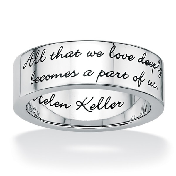 Inspirational Helen Keller Quote Message Ring in Stainless Steel Tailored