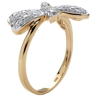 Diamond Accent 18k Gold over Sterling Silver Dragonfly Ring