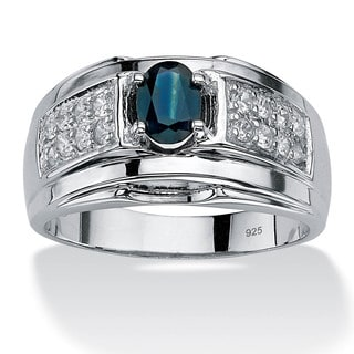 Men's 1.53 TCW Oval-Cut Genuine Midnight Blue Sapphire and Cubic Zirconia Ring in Sterling