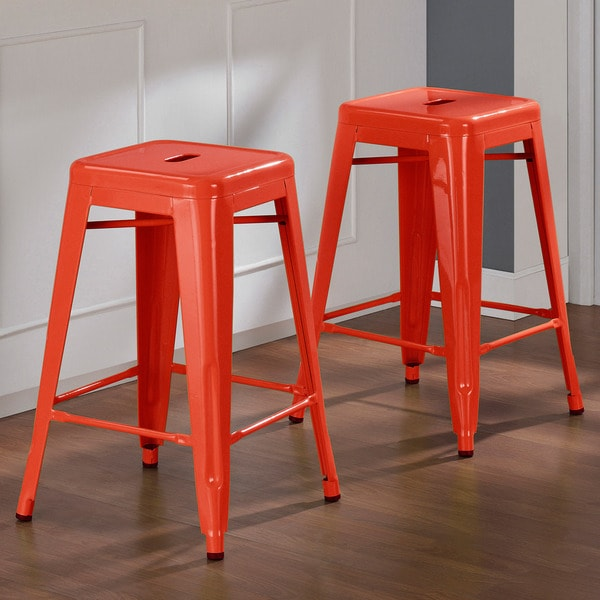 Tabouret 24-inch Tangerine Metal Counter Stools (Set of 2) - Free Shipping Today - Overstock.com - 14204126 & Tabouret 24-inch Tangerine Metal Counter Stools (Set of 2) - Free ... islam-shia.org