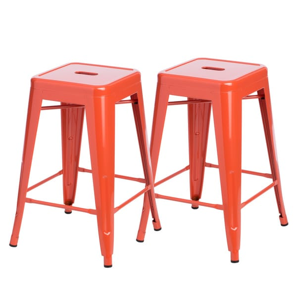 Tabouret 24 Inch Tangerine Metal Counter Stools Set Of 2