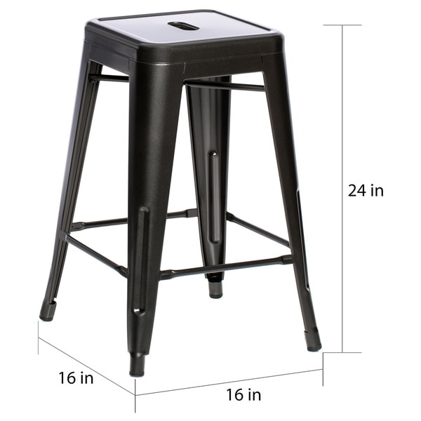 Tabouret 24-inch Charcoal Grey Metal Counter Stools (Set of 2) - Free Shipping Today - Overstock.com - 14204127  sc 1 st  Overstock & Tabouret 24-inch Charcoal Grey Metal Counter Stools (Set of 2 ... islam-shia.org
