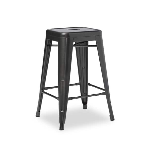 Outstanding Shop 24 Inch Charcoal Grey Metal Counter Stools Set Of 2 Gmtry Best Dining Table And Chair Ideas Images Gmtryco