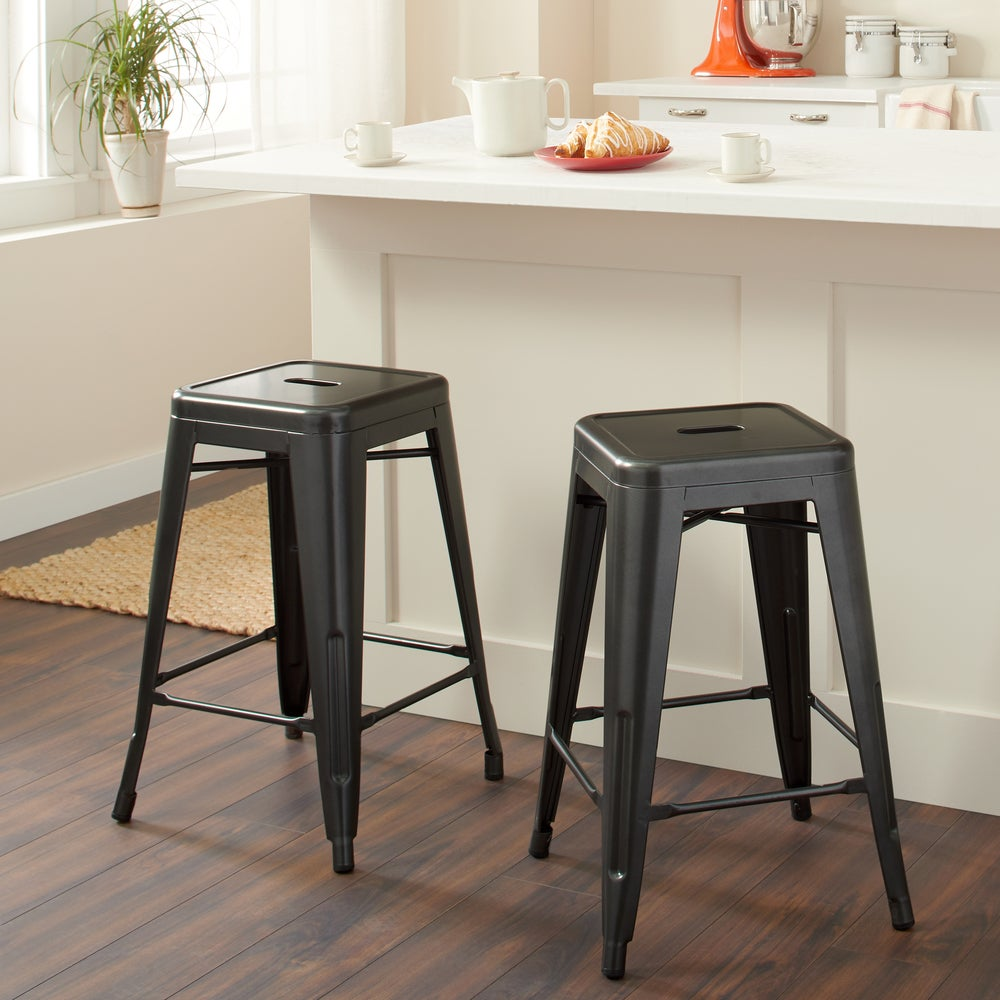 Shop I Love Living 24-inch Charcoal Grey Metal Counter Stools from Overstock on Openhaus