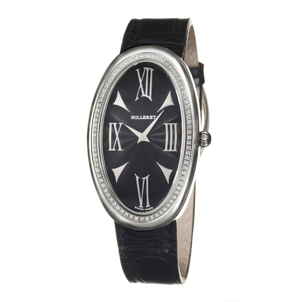 Black Face Roman Silver Hands Single-row Milleret Women's 'Anaconda' Stainless Steel Diamonds Watch
