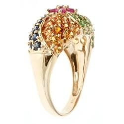 D'Yach 10k Yellow Gold Thai Ruby, Multi-colored Sapphire and Tsavorite Ring - Thumbnail 1