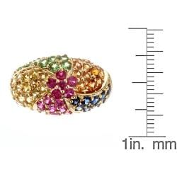 D'Yach 10k Yellow Gold Thai Ruby, Multi-colored Sapphire and Tsavorite Ring - Thumbnail 2