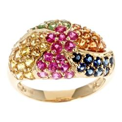 D'Yach 10k Yellow Gold Thai Ruby, Multi-colored Sapphire and Tsavorite Ring