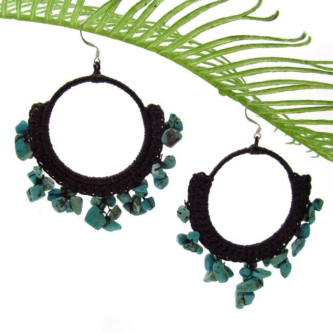 Handmade Blue Turquoise Stone Chandelier Hoop Earrings (Thailand)