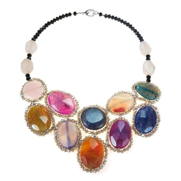 Round Multicolor Agate Mosaic Bib Statement Necklace (Thailand)