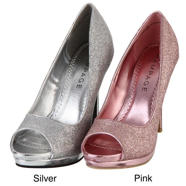 Rampage Women's 'Gracee' Glitter Peep-toe Pumps