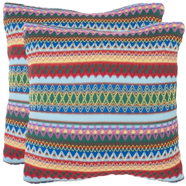 Safavieh Fantasia Blue 18-inch Decorative Pillows (Set of 2)