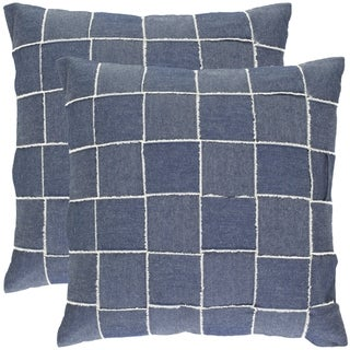 Safavieh Denim Blue 18-inch Decorative Pillows (Set of 2)