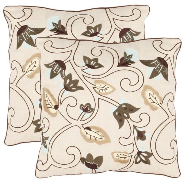 Safavieh Oasis 18-inch Cream Decorative Pillows (Set of 2)