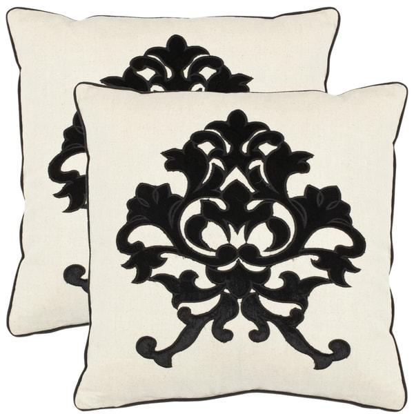 Safavieh Crest 18-inch Beige Decorative Pillows (Set of 2)