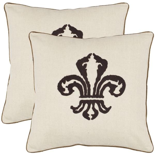 Safavieh Fleur De Lis 18 Inch Beige Decorative Pillows Set Of 2