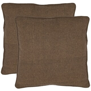 Safavieh Solid 18-inch Brown Decorative Pillows (Set of 2)