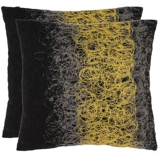 Safavieh Swirls 18-inch Black/Yellow Decorative Pillows (Set of 2)