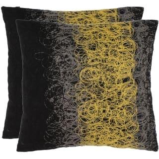 Safavieh Swirls 18 Inch Black Yellow Decorative Pillows Set Of 2