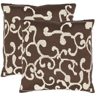 Safavieh Scrolls 18-inch Brown Decorative Pillows (Set of 2)