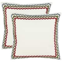 Safavieh Borders 18-inch White Decorative Pillows (Set of 2)