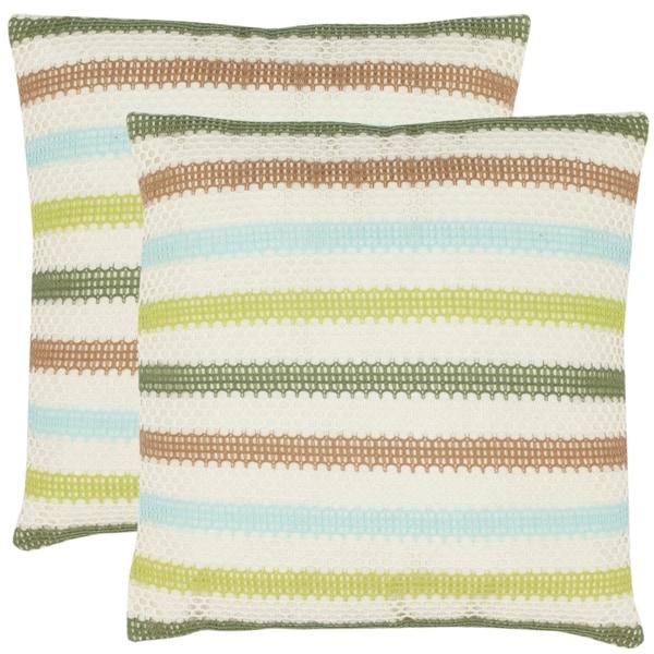Safavieh Honeycomb 18-inch Cream/ Blue Decorative Pillows (Set of 2)