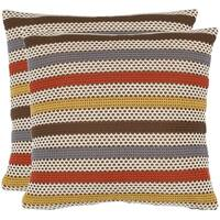Safavieh Honeycomb 18-inch Brown/ White Decorative Pillows (Set of 2)