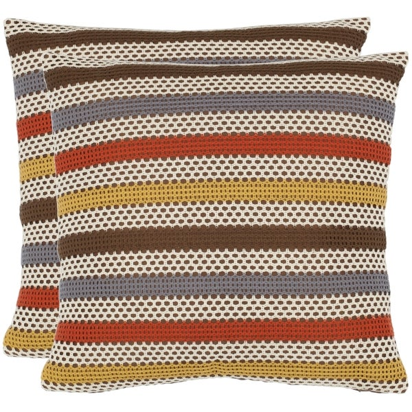 Safavieh Honeycomb 18-inch Brown/ White Decorative Pillows (Set of 2)