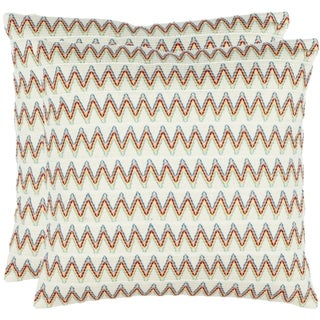 Safavieh Zig-Zag 18-inch Cream Decorative Pillows (Set of 2)