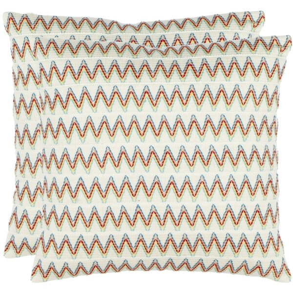 Safavieh Zig-Zag 18-inch Cream Decorative Pillows (Set of 2)