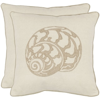 Safavieh Sea Shell 18-inch Cream Decorative Pillows (Set of 2)