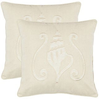 Safavieh Beaches 18-inch Cream Decorative Pillows (Set of 2)