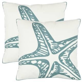 Safavieh Starfish 18-inch White Decorative Pillows (Set of 2)|https://ak1.ostkcdn.com/images/products/6641118/P14204409.jpeg?impolicy=medium