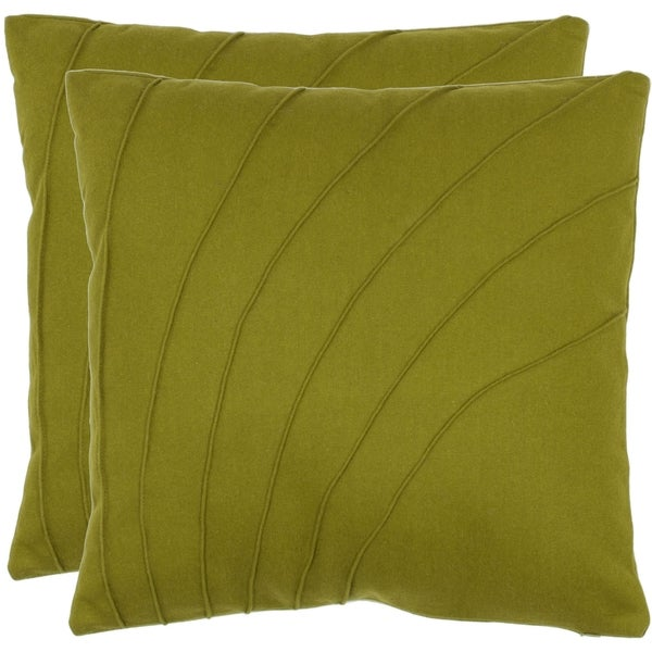Safavieh Floral 18-inch Green Decorative Pillows (Set of 2)